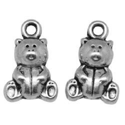 Pandantiv urs metalic 16x10x5 mm orificiu 2 mm culoare argintiu -10 bucăți