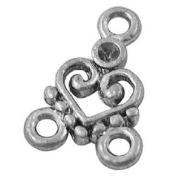 Metal figurine for jewelry making, connecting element 15x11x2 mm hole 2 mm color silver - 10 pieces