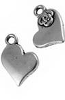 Висулка метална сърце 14x11.5x3 мм дупка 2 мм цвят сребро -10 броя