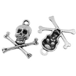Pendant metal skull and bones shape 24x21x4 mm hole 2 mm color silver - 10 pieces