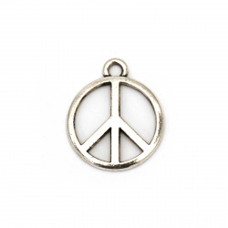 Metal peace sign pendant 24x2 mm hole 2 mm color silver - 10 pieces