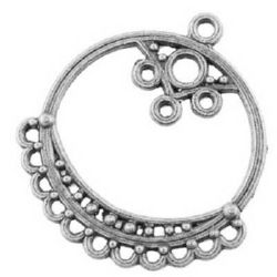 Element de conectare metal 36,5x33,5x1 mm gaură 2 mm culoare argintiu -4 bucati