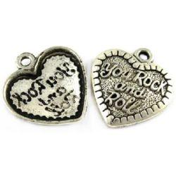Pandantiv inimă metalică 31x29x4 mm gaură 3 mm culoare argintiu -2 bucăți