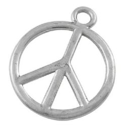 Glossy metal pendant, peace sing 34x28.5x2 mm hole 4 mm color silver - 2 pieces