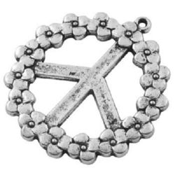 Roundel metal bead - peace sign with flowers 41x37x2 mm hole 1.5 mm color silver - 2 pieces