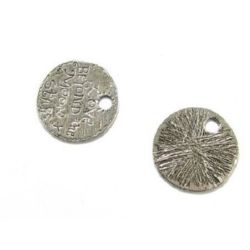 "Metal medallion, coin shape with engraved inscription ""Love beyond the moon stars"" 36 mm hole 6 mm color silver - 2 pieces"