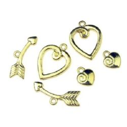 Metal clasp three parts - heart ,Jewellery Making 15x20 mm, heart 8.5x10 mm, boom 23 mm hole 1.5 mm - gold color -4 sets