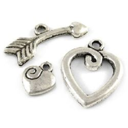 Metal clasp - heart,Jewellery Making  15x20 mm, heart 8.5x10 mm, boom 23 mm hole 1.5 mm - color silver -4 sets
