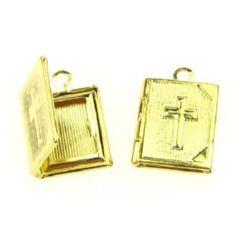 Висулка метална 11.5x17.5x3 мм дупка 2 мм цвят злато -2 броя