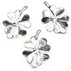 Lucky pendant, metal element in four-leaf clover shape 22x15x2 mm hole 2 mm color silver - 10 pieces