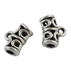 Cilindru metalic pandantiv 10x12x6 mm gaură 1,5 mm culoare argint vechi -10 bucăți