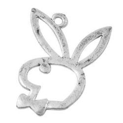 Висулка метална заек 30x23x1 мм дупка 2 мм цвят сребро -10 грама