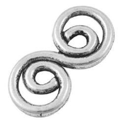 Свързващ елемент метал 26x13x2 мм дупка 3 мм цвят сребро -4 броя