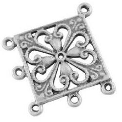 Свързващ елемент метал 34x36.5x1.5 мм дупка 2 мм цвят сребро -4 броя