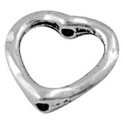 Beaded metal heart 13.5x14x3 mm hole 1 mm color old silver - 10 pieces
