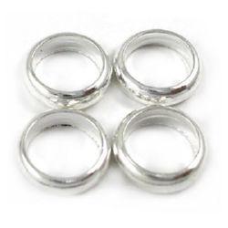 Мънисто метал халка 5x1.8 мм дупка 3.5 мм цвят бял -30 броя