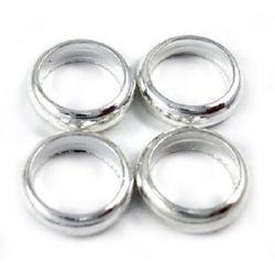 Мънисто метал халка 6x1.8 мм дупка 4.5 мм цвят сребро -50 броя