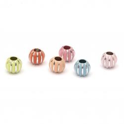 Χάντρα με  ασημένιο σπείρωμα στρογγυλη 11,5x10 mm τρύπα 4,5 mm MIX χρωματων-50 γραμμάρια ~ 77 τεμάχια