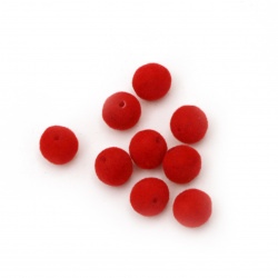 Мънисто с мъх топче 8 мм дупка 1 мм червено -20 грама ~ 64 броя
