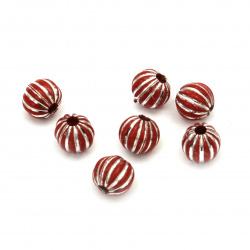 Мънисто сребърна нишка топче портокал 8 мм дупка 2 мм цвят червен -50 грама  ~180 броя