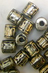 Bead metallic cylinder with black edging 6.5x5.5 mm hole 2.5 mm color silver -50 grams ~ 450 pieces