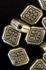 Bead metallic rhombus 11x1 mm hole 1 mm color silver -50 grams ~ 150 pieces
