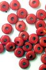 Мънисто плътно шайба 6x3 мм дупка 1.5 мм червено -50 грама