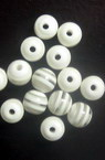 Resin plastic ball beads 6 mm hole 1 mm transparent with white stripes - 50 pieces