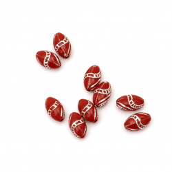 Opaque Acrylic Oval Beads with Silver Line, Red 13x8 mm, hole 2 mm - 50 grams ~ 120 pieces