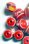 Σφαίρα ρητίνη 10x9 mm κόκκινο με σχέδια -50 τεμάχια