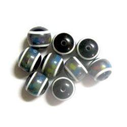Σφαίρα ρητίνη 12 mm μαύρο με σχέδια -50 τεμάχια