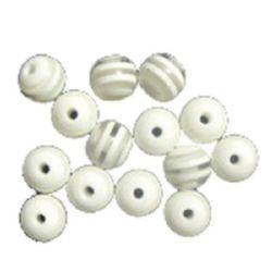 Σφαίρα ρητίνη 8 mm τρύπα 2 mm λευκό -50 τεμάχια