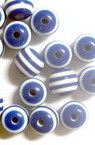 Resin acrylic round  beads 8x7 mm hole 2 mm blue with white stripes - 50 pieces