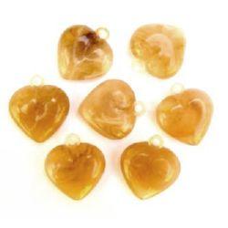 Сърца 2 мм с халка светъл кехлибар прозр -50 гр