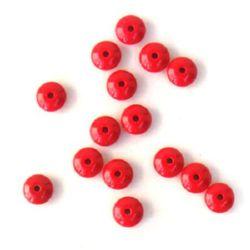 Mărgele solide din disc acrilic pentru realizarea bijuteriilor 13x7 mm gaură 2 mm roșu - 50 grame ± 70 bucăți