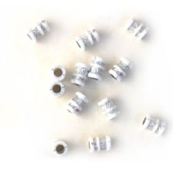 Plastic opaque Cylinder large bead with small silver 9x12x5 mm hole white - 50 grams