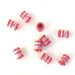 Цилиндър голям и малък сребро 9x12x5 мм дупка червен -50 грама