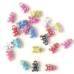Opaque Acrylic Charm Beads Teddy Bear, Silver-Lined, Multicolor 15mm. - 50gr.
