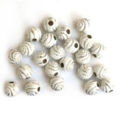 Opaque Acrylic Round Beads with Silver Line, 8 mm white - 50 grams ~ 260 pieces