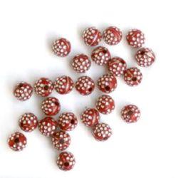 Мънисто имитация камъчета топче 5 мм дупка 1 мм червено -20 грама ~292 броя