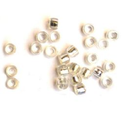 Transparent acrylic  Cylinder barrel Beads, with silver line 6x3 mm hole - 50 grams