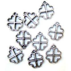 Pandantiv trifoi metalic 16x2 mm orificiu 1,5 mm argintiu -50 grame ~ 400 bucăți