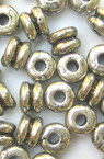 Bead metallic washer double with black edging 5x6 mm hole 1.5 mm -50 grams ~ 430 pieces