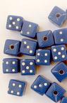 Мънисто зар 6x7 мм дупка 1.5 мм синьо с бяло -20 грама ~60 броя