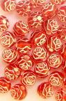 Margele  trandafir bila 6 mm gaura 1,5 mm roșu cu alb -50 grame ~ 390 buc