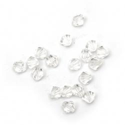 Мънисто кристал 10x10 мм дупка 1 мм прозрачно -50 грама ~ 120 броя