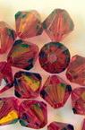 Margele cristal 10 mm gaura 1 mm  roșu -50 grame ~ 120 buc