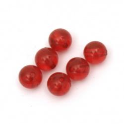 Χάντρα απομίμηση κρύσταλλο στρόγγυλο 8mm Τρύπα 1mm Κόκκινο -50 γραμμάρια ~ 170 τεμάχια