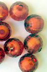 Transparent Acrylic Faceted Round Beads, Bead in Bead, White Core, Red 12 mm hole 2 mm - 50 grams ~
