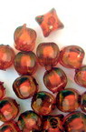 Transparent Acrylic  Rectangular Bead with white base 7.5x8 mm hole 2 mm red - 50 grams ~ 170 pieces